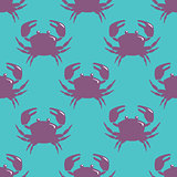 Seamless pattern with violet crab on blue background.