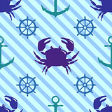 Seamless pattern with crab, steering wheel and anchor