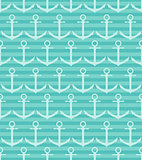 Seamless pattern with anchor on blue striped background.