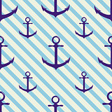 Seamless pattern with anchor on background and diagonal stripes.