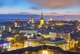 Night aerial view old town, Tallinn, Estonia