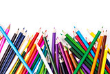 Color pencils topsy-turvy on white
