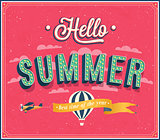 Hello summer typographic design.