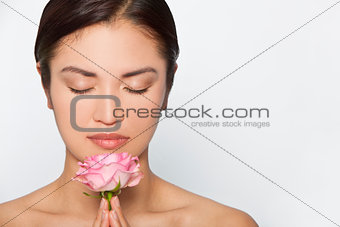 Beautiful Asian Woman Model With Pink Rose