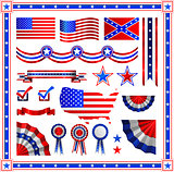 Red and blue patriotic American badges labels with flag, banners, round, shields wreaths in the colour pattern of the Stars stripes elements