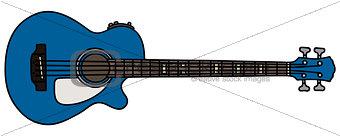 Blue acoustic bass guitar