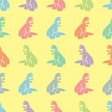 Seamless background. Funny colored tyrannosaurs