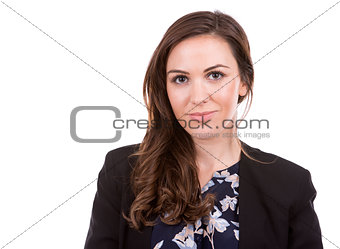 successful businesswoman on white