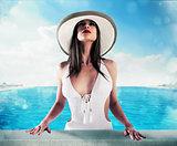 Luxury woman in swimming pool