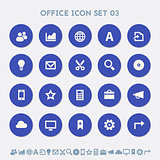 Office 3 icon set. Material circle buttons