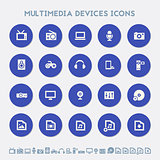 Multimedia devices icon set. Material circle buttons