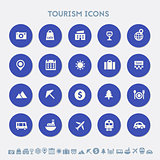 Tourism icon set. Material circle buttons
