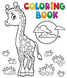 Coloring book young giraffe theme 2