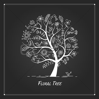 Art floral tree for your design on black background
