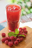 fruit drink with raspberries
