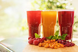 fruit drink with cranberries raspberries and sea buckthorn