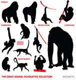 the great animal silhouettes collection - monkeys