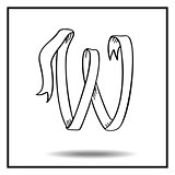 Ribbon sketch alphabet