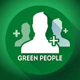 Teamwork, association of green people icon. Flat design style