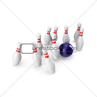 Bowling Ball crashing into the pins. 3D rendering
