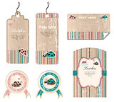 vector set of stickers and cards with ladybirds
