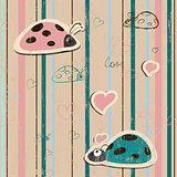 vector seamless wallpaper with ladybirds in love