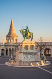 Saint Stefan Statue in Budapest, Hungary in Sunrise