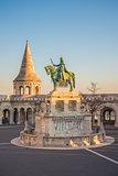 Saint Stefan Statue in Budapest, Hungary in Sunrise