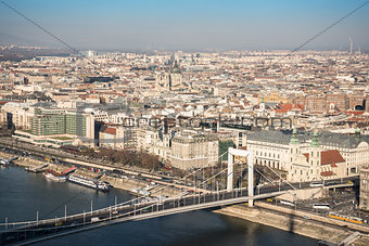 Cityscape of Budapest with Elisabeth Bridge over Danube River