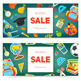 School supplies and sale text block.
