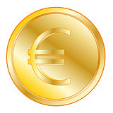 Coin with sign euro