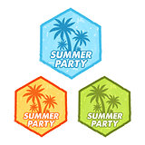 summer party with palms sign, grunge flat design hexagons labels