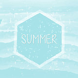 summer in hexagon frame over blue waves, grunge drawn label
