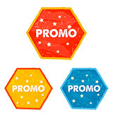 promo and stars, grunge flat design hexagons labels