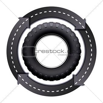 Circles Arrow Road And Car tire