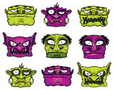 halloween scary zombie monster heads