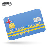 Credit card with Aruba flag background for bank, presentations and business. Isolated on white