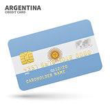 Credit card with Argentina flag background for bank, presentations and business. Isolated on white