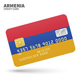 Credit card with Armenia flag background for bank, presentations and business. Isolated on white