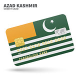 Credit card with Azad Kashmir flag background for bank, presentations and business. Isolated on white