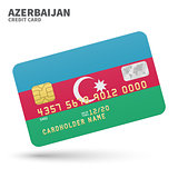 Credit card with Azerbaijan flag background for bank, presentations and business. Isolated on white
