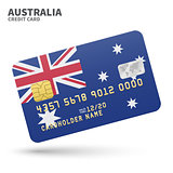 Credit card with Australia flag background for bank, presentations and business. Isolated on white