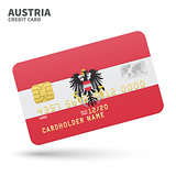 Credit card with Austria flag background for bank, presentations and business. Isolated on white