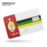 Credit card with KwaZulu flag background for bank, presentations and business. Isolated on white