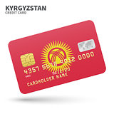 Credit card with Kyrgyzstan flag background for bank, presentations and business. Isolated on white