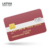 Credit card with Latvia flag background for bank, presentations and business. Isolated on white