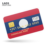 Credit card with Laos flag background for bank, presentations and business. Isolated on white