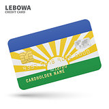 Credit card with Lebowa flag background for bank, presentations and business. Isolated on white