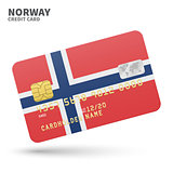 Credit card with Norway flag background for bank, presentations and business. Isolated on white