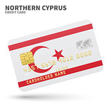 Credit card with Northern Cyprus flag background for bank, presentations and business. Isolated on white